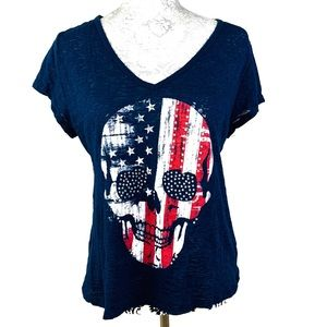 Tops - SKULL BURNOUT T-SHIRT